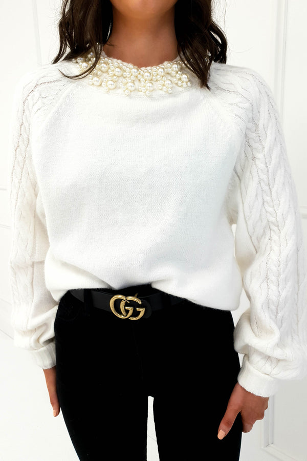 Coco Pearl Neck Jumper Cream