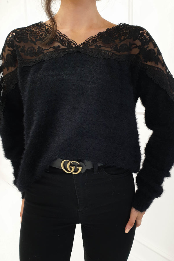 India Jumper With Lace Detail Black
