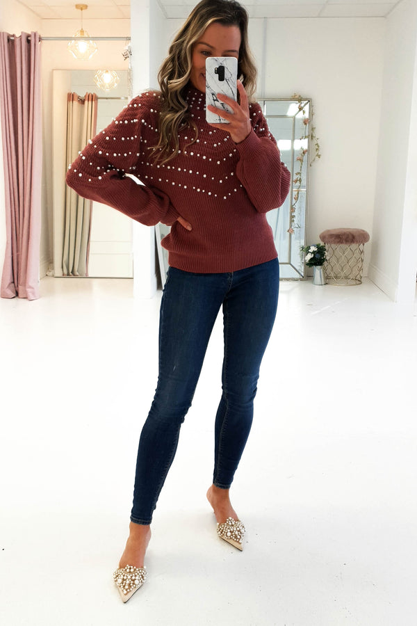 Keeley Pearl Embellished Jumper Camel