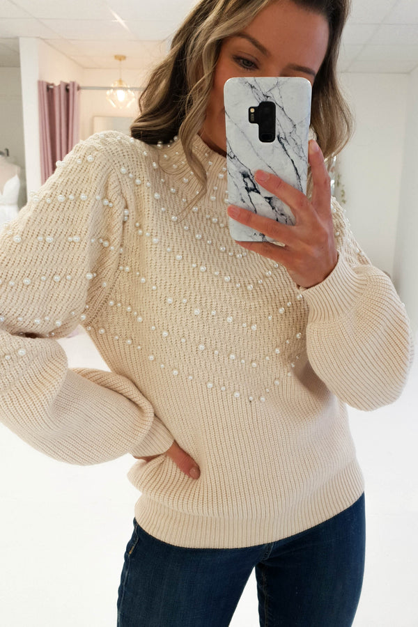 Keeley Pearl Embellished Jumper Cream