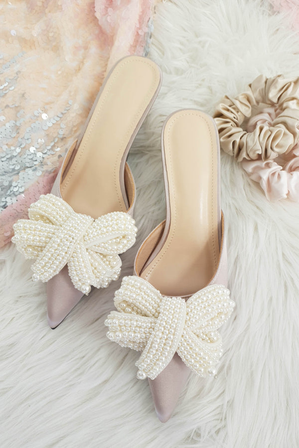 Emilia Pearl Bow Kitten Mules | Pink
