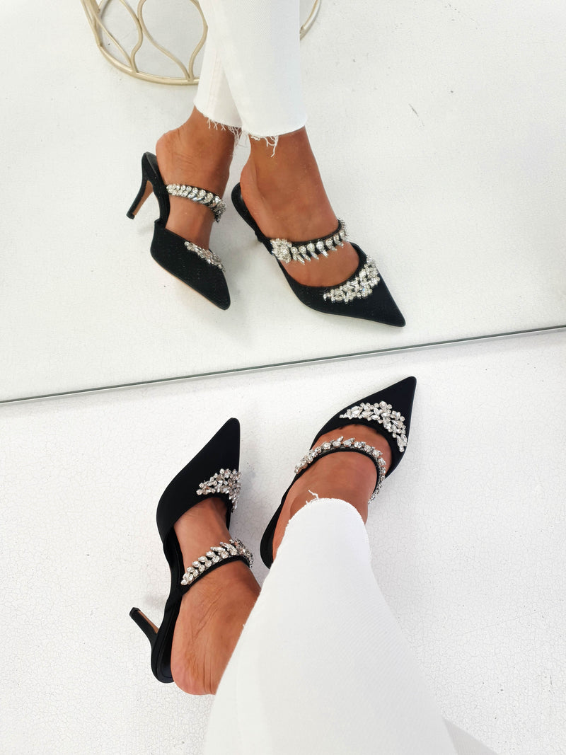 Anna Satin Embellished Mules | Black