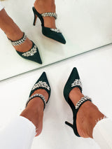 Anna Satin Embellished Mules | Forest Green