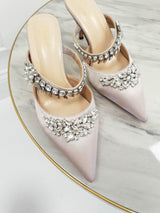 Anna Satin Embellished Mules | Champagne