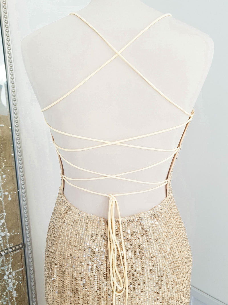 Mila Sequin Gown Gold