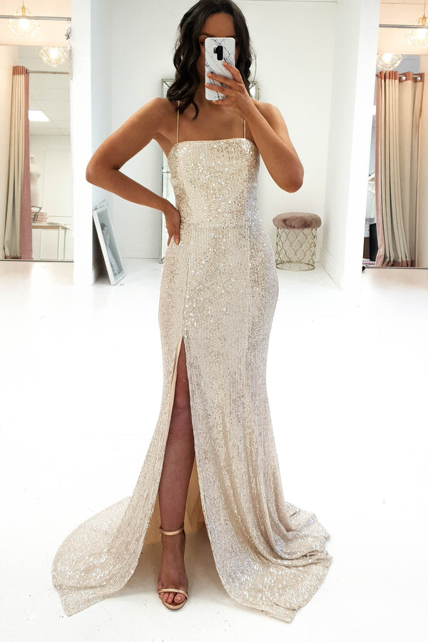 Mila Sequin Gown Champagne