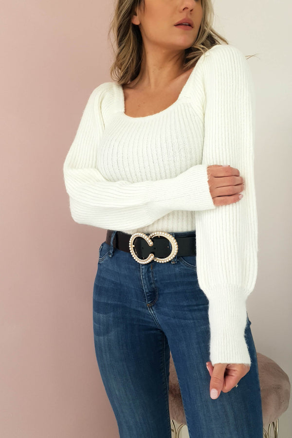 Cece Square Neck Jumper White