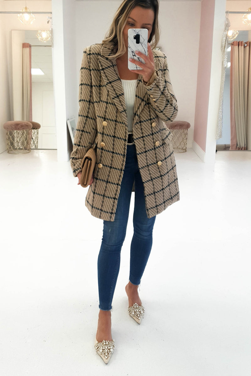 Charley Gold Button Checked Coat