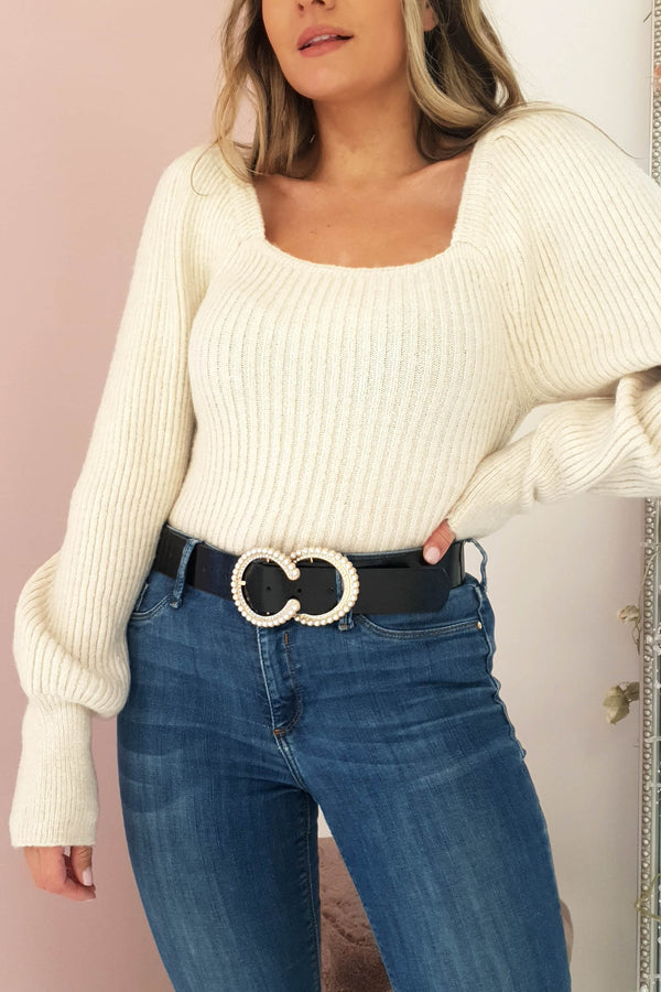 Cece Square Neck Jumper Cream