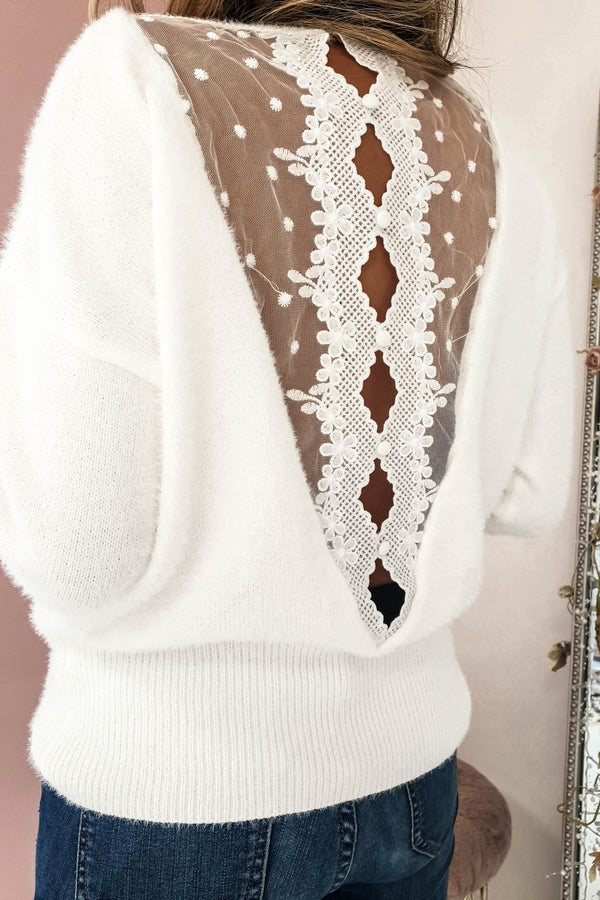 Nessa Plush Soft White Jumper | Lace Detail