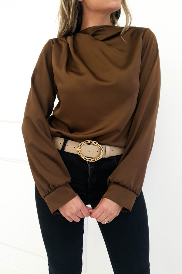 Esher Long Sleeved Satin Top Cocoa