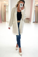 Clarice Long Gold Detail Cardigan White