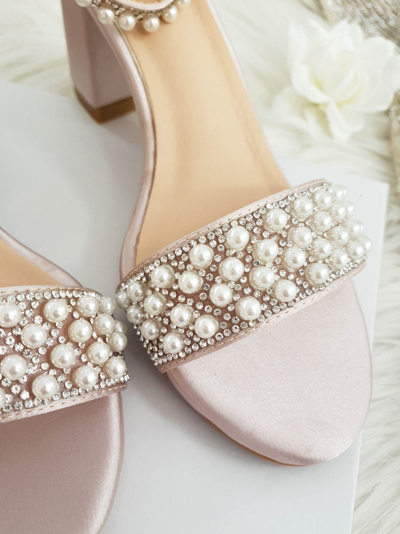 Ava Embellished Satin Ankle Sandals Mauve