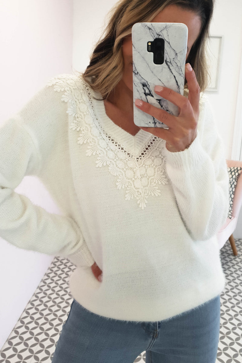 Chloe Lace Neck Detail Jumper