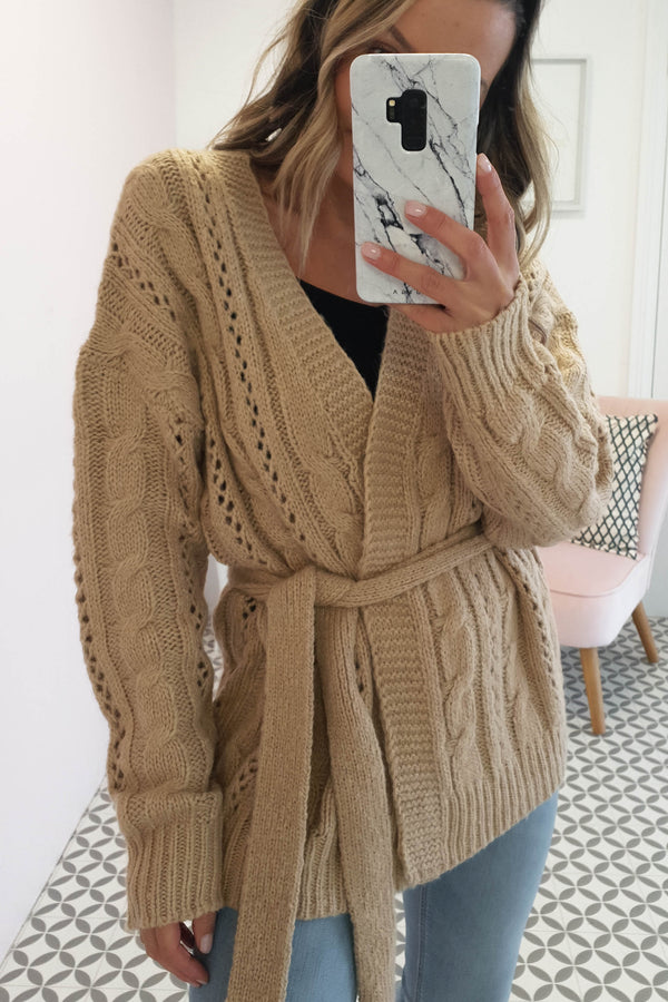 Layla Knitted Cardigan Beige