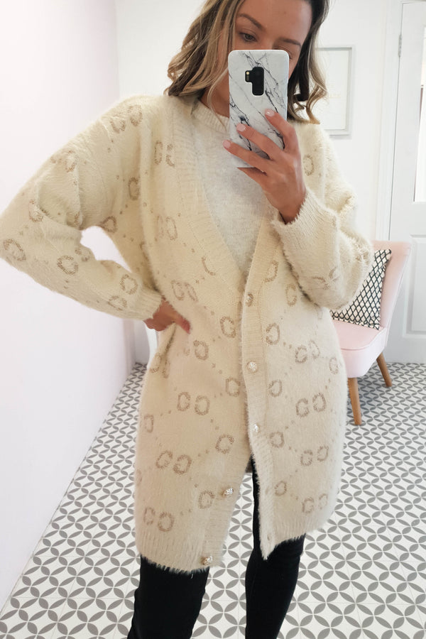 Swinton Knitted Long Cardigan | Cream