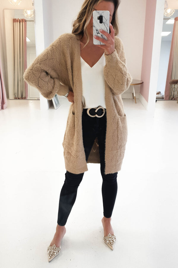 Livvy Long Cardigan | Tan