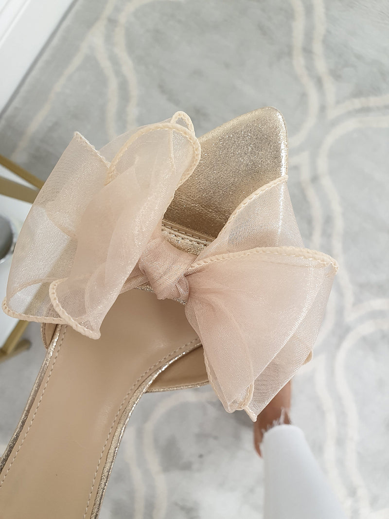 Frenchie Bow Heels | Rose Gold