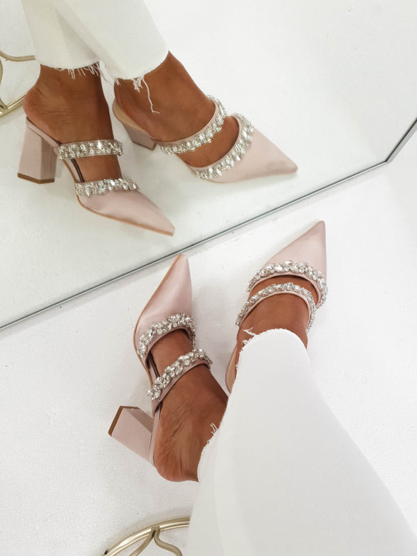 Angelica Embellished Satin Block Heel | Blush