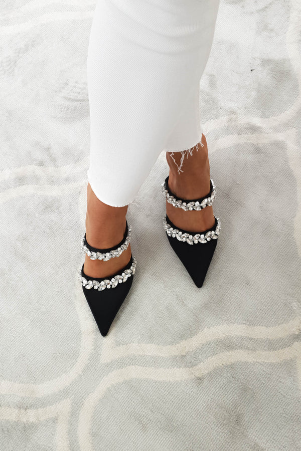 Angelica Embellished Satin Block Heel | Black
