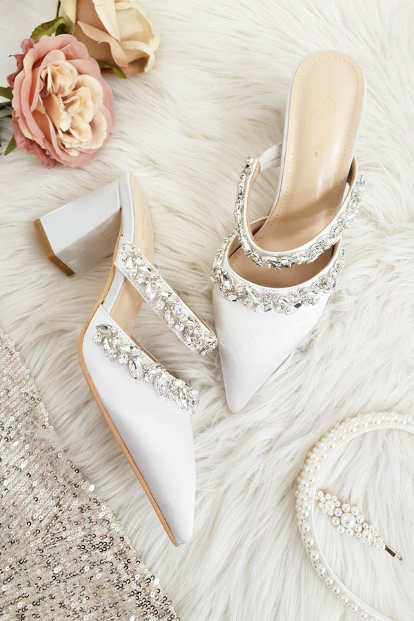 Angelica Embellished Satin Block Heel | White