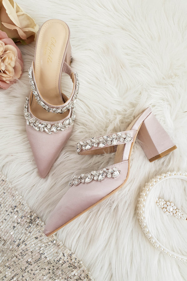 Angelica Embellished Satin Block Heel | Blush Champagne