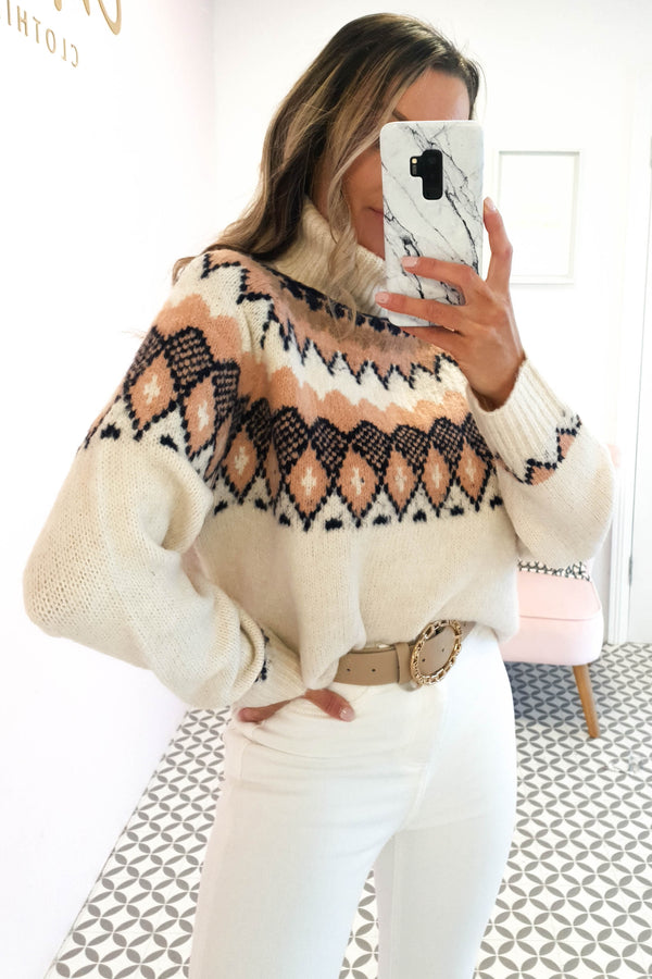 Aspen Roll Neck Jumper | Beige