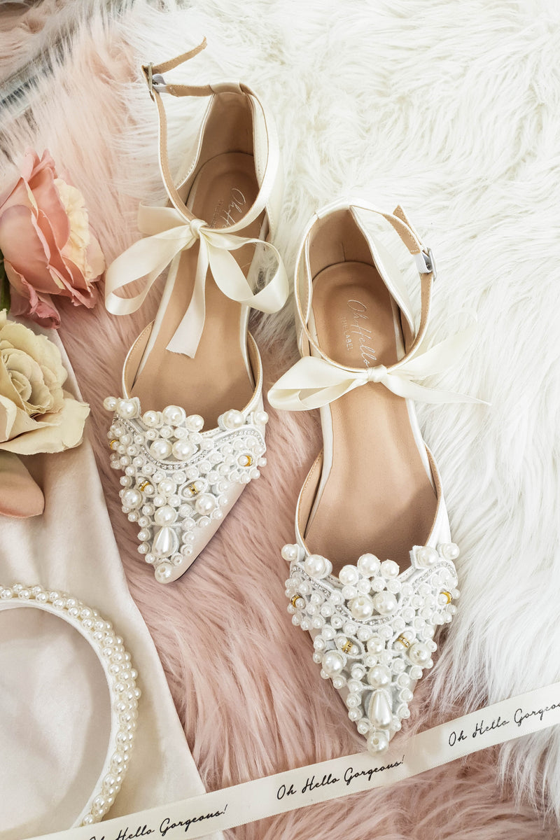 Cindy Embellished Flats | Ivory Champagne