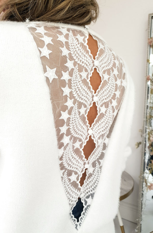 Stellar Plush Soft White Jumper | Star Lace Detail