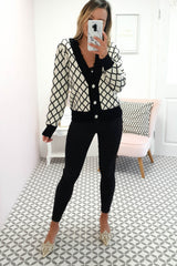 Carlee Knitted Cardigan | Black and White