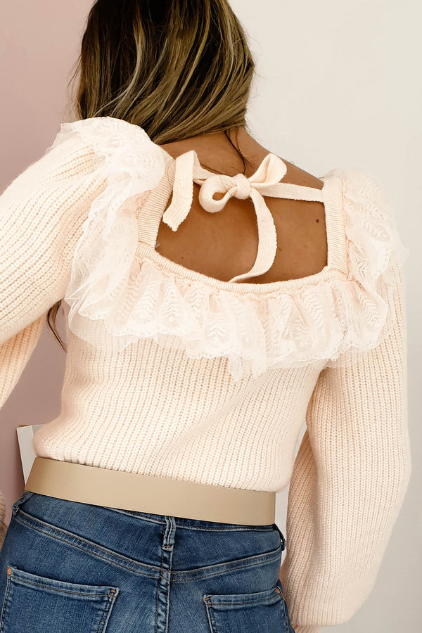 Amorette Knit with Tulle Detail | Peach