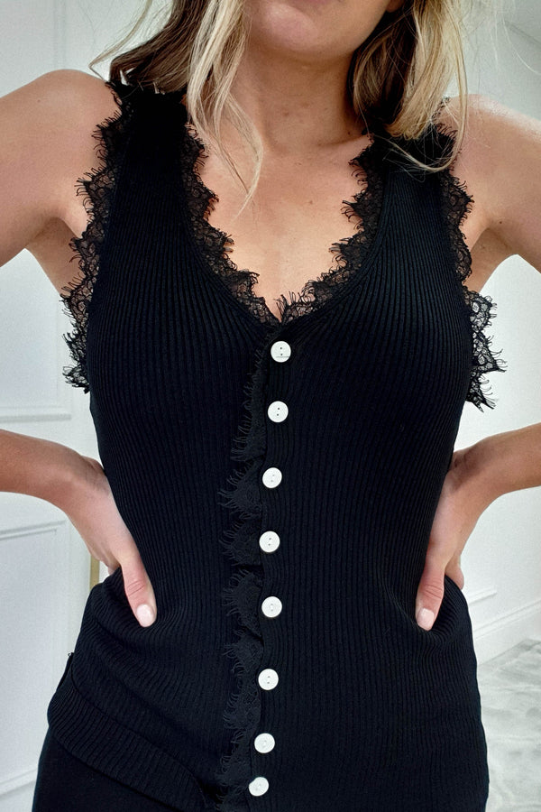 Paula Ribbed Top With Lace Detail Black