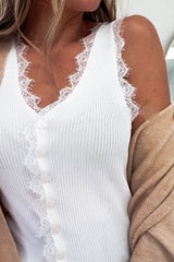 Paula Ribbed Top With Lace Detail White