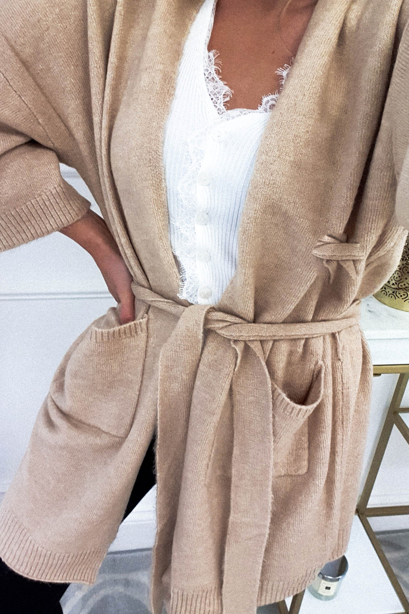 Lora Dark Beige Knit Cardigan