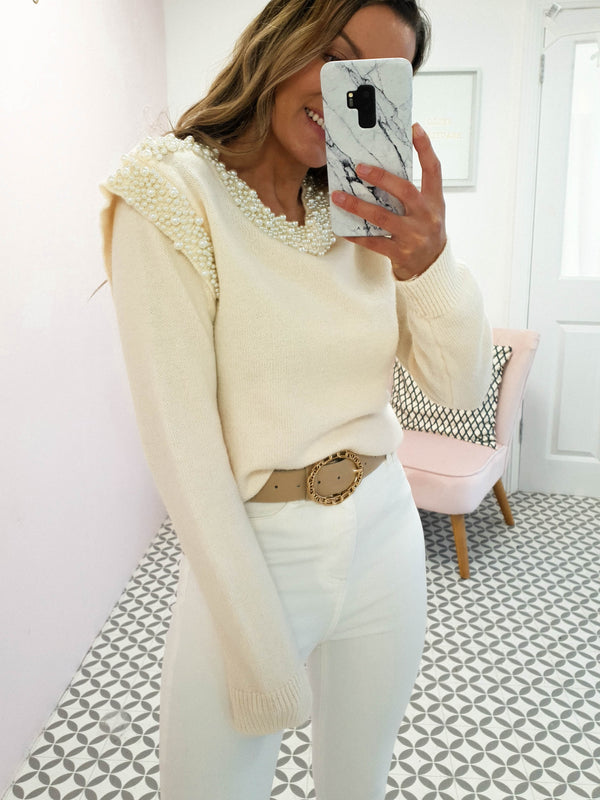 Victoria Pearl Embellished Jumper | Cream