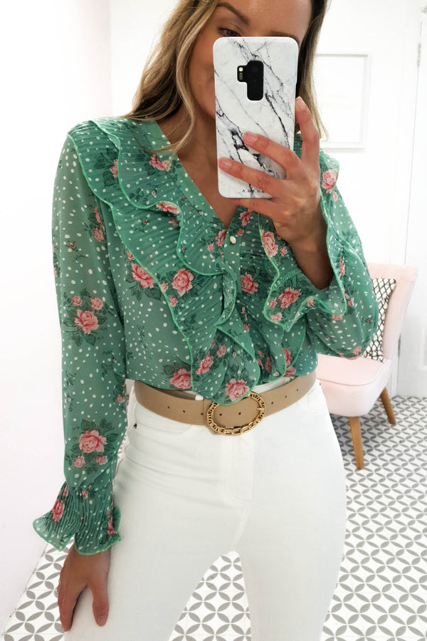 Perri Frill Green Floral Print Blouse