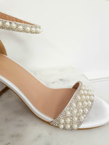 PRE-ORDER Ava Embellished Satin Ankle Sandals White