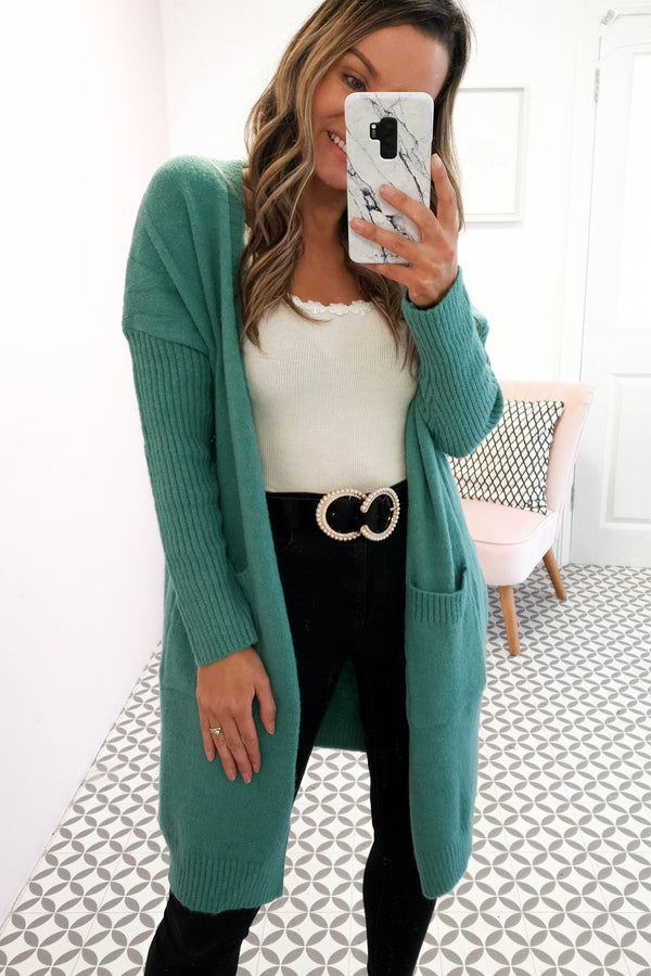 Saoirse Soft Knitted Cardigan Green