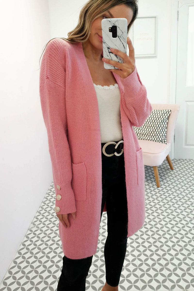 Windsor Soft Knitted Cardigan Hot Pink