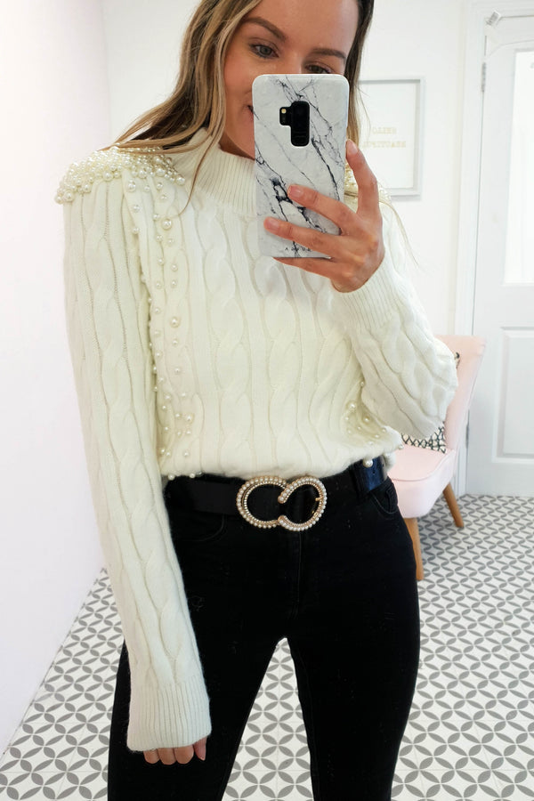 Emmie Pearl Embellished Jumper | Cream