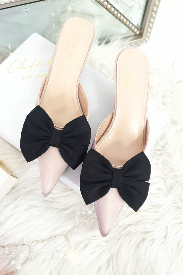 Vogue Bow Satin Kitten Mules | Mauve