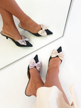 Vogue Bow Satin Kitten Mules | Black