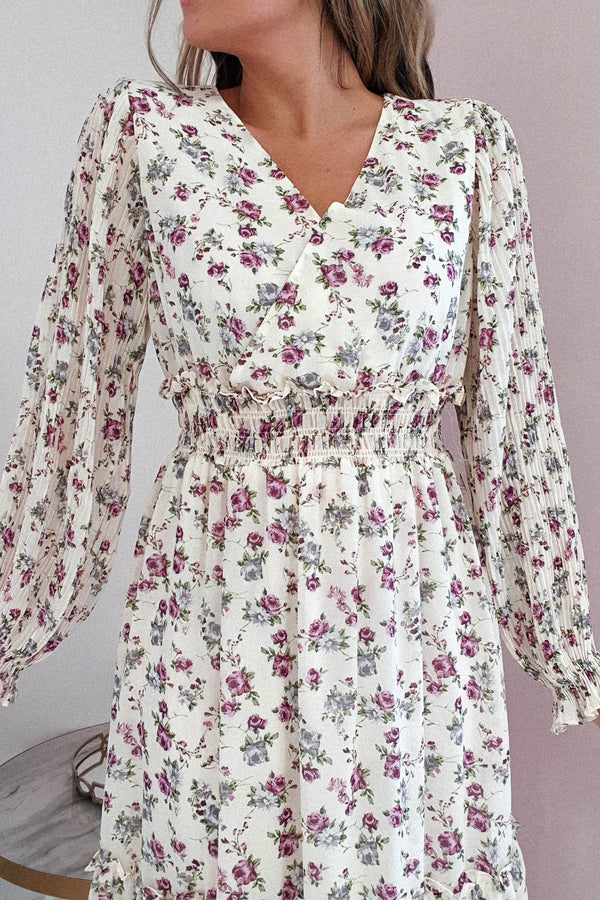 Asher Midi Dress | Purple Floral Print