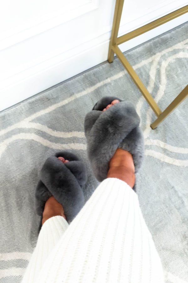 SilkLee | Luxurious Sheep Skin Slippers | Dawn Grey