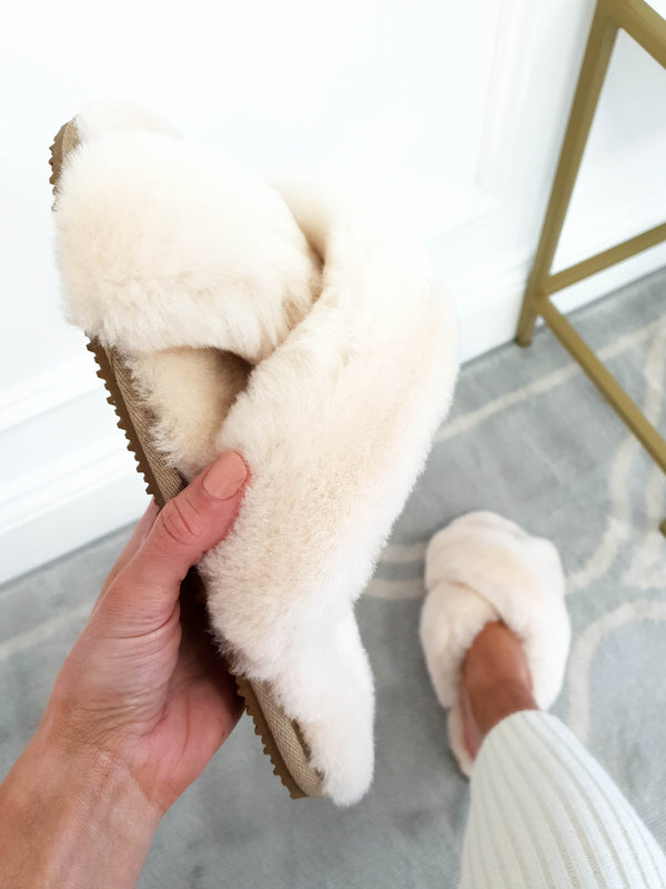 SilkLee | Luxurious Sheep Skin Slippers | Butter Cream