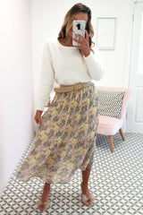 Holly Midi Skirt | Yellow Floral Print