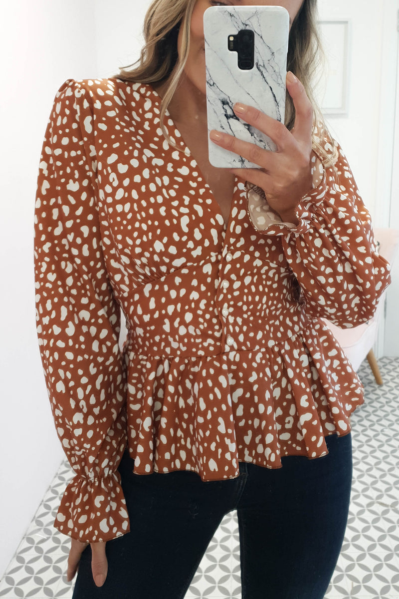 Madeira Camel Printed Top