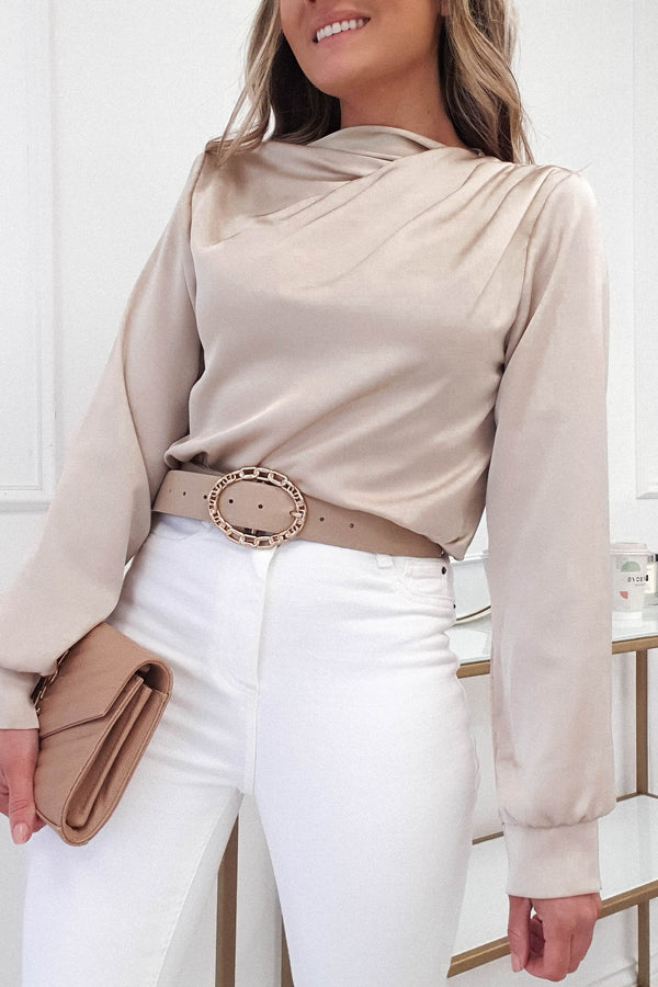 Esher Long Sleeved Satin Top | Champagne