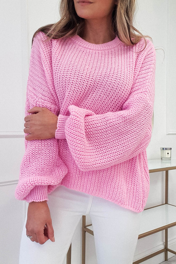 Pallas Chunky Knitted Jumper | Hot Pink