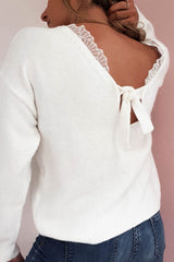 Susanna Lace Back Jumper | White